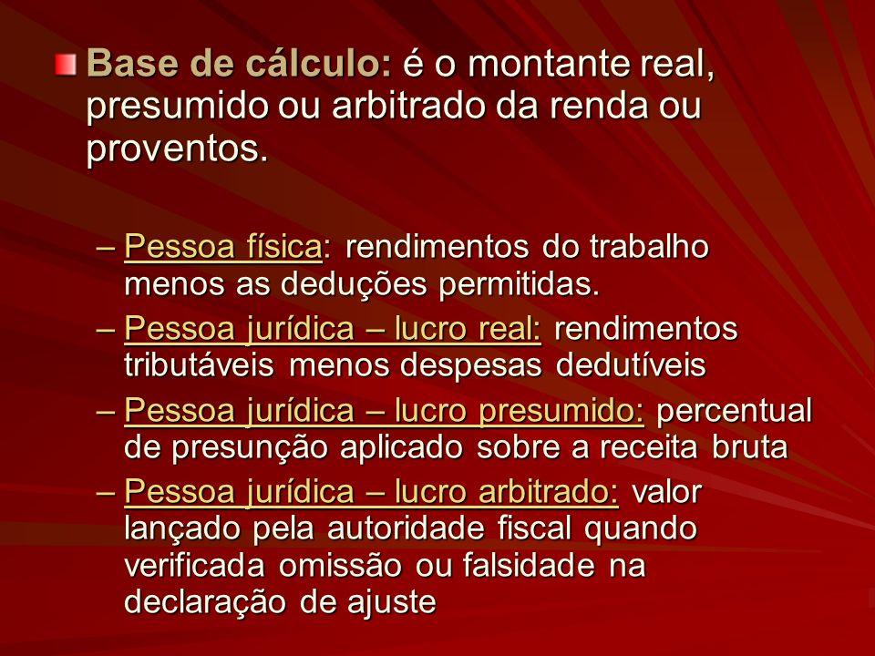 Base de cálculo: é o montante real, presumido ou arbitrado da renda ou proventos.