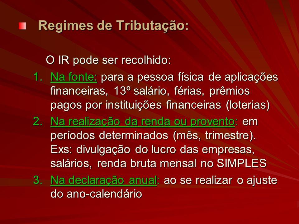 Regimes de Tributação: