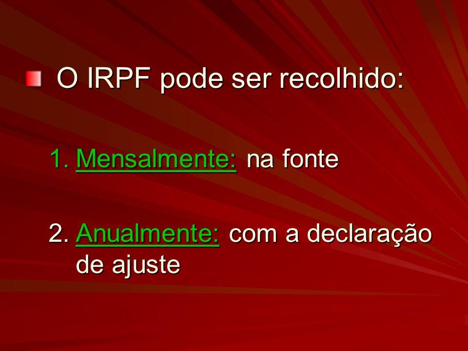 O IRPF pode ser recolhido: