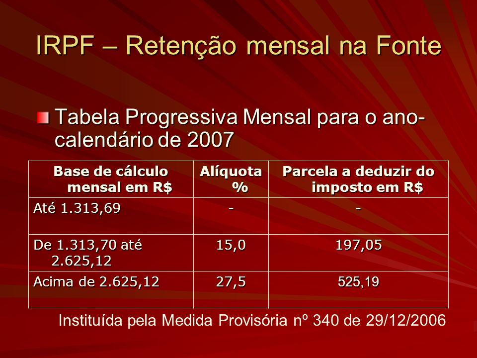 IRPF – Retenção mensal na Fonte