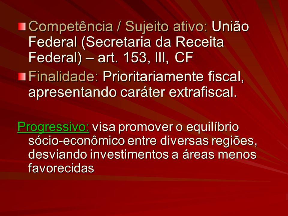 Finalidade: Prioritariamente fiscal, apresentando caráter extrafiscal.