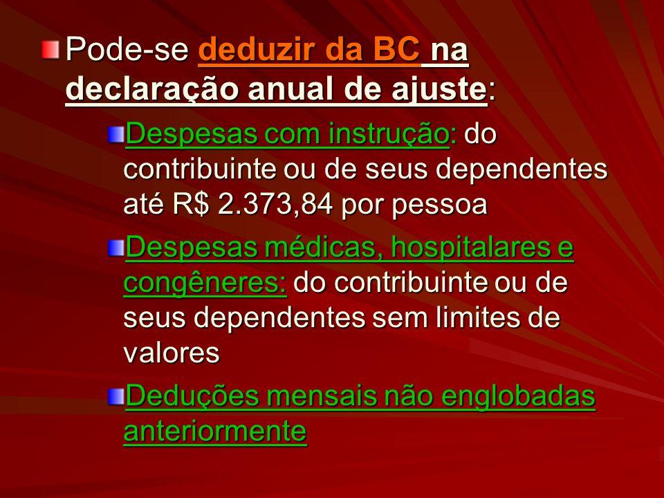 Pode-se deduzir da BC na declaração anual de ajuste: