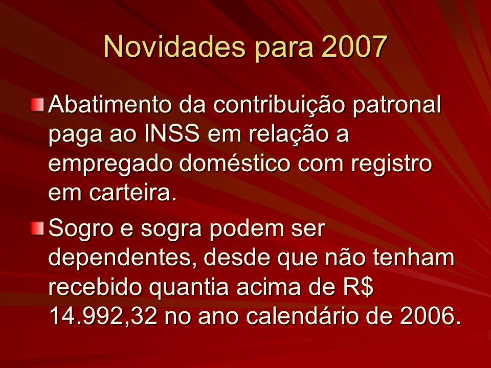 Novidades para 2007 Abatimento da contribuição patronal paga ao INSS em relação a empregado doméstico com registro em carteira.