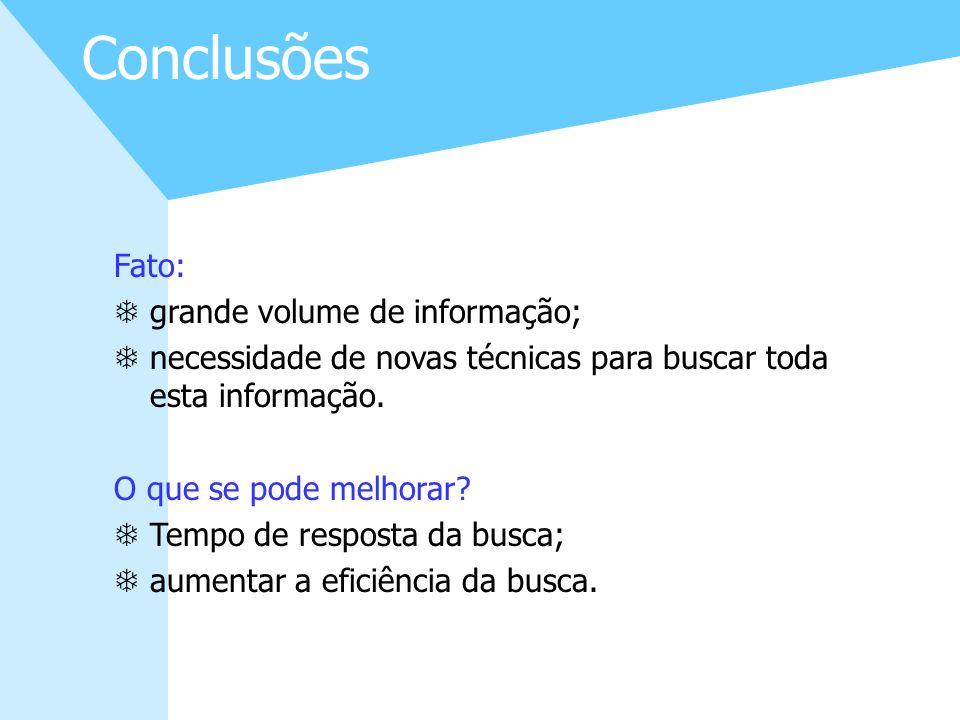 Conclusões Fato: grande volume de informação;