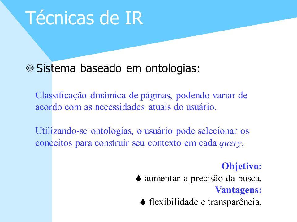 Técnicas de IR Sistema baseado em ontologias: