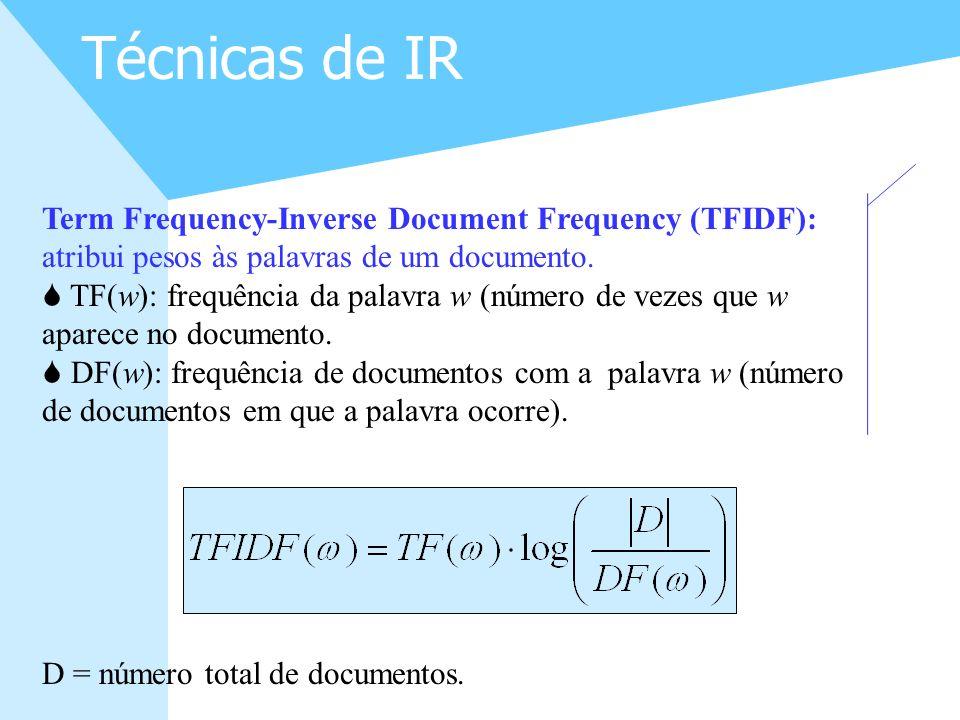 Técnicas de IR Term Frequency-Inverse Document Frequency (TFIDF): atribui pesos às palavras de um documento.