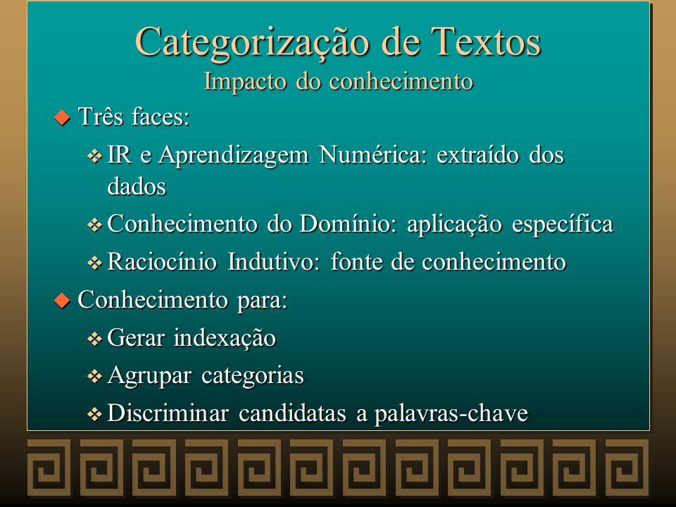 Categorização de Textos Impacto do conhecimento