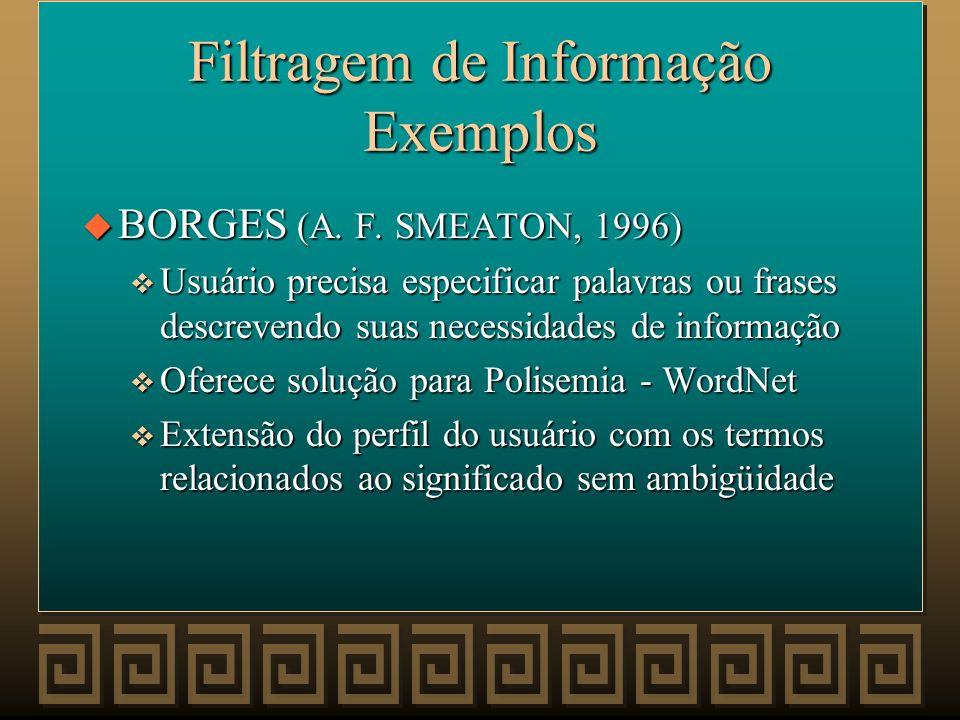 Filtragem de Informação Exemplos