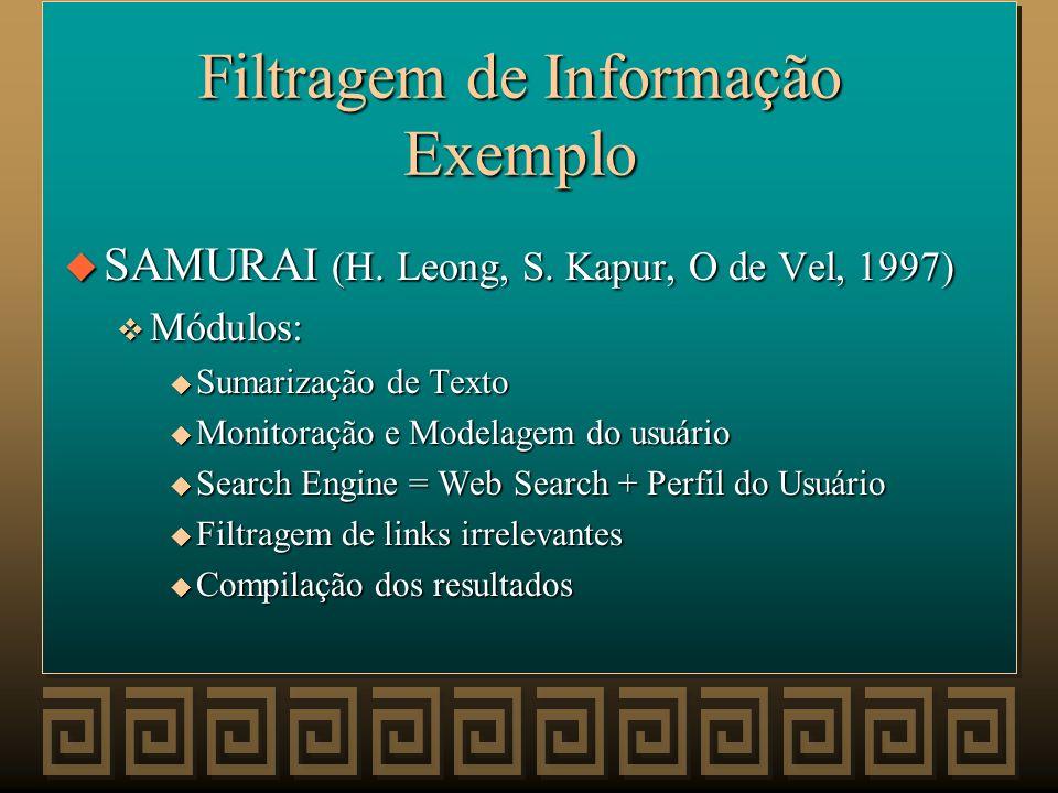Filtragem de Informação Exemplo
