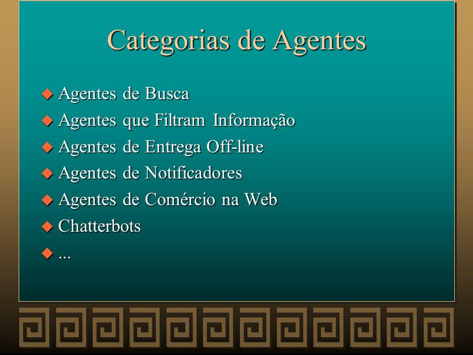 Categorias de Agentes Agentes de Busca Agentes que Filtram Informação