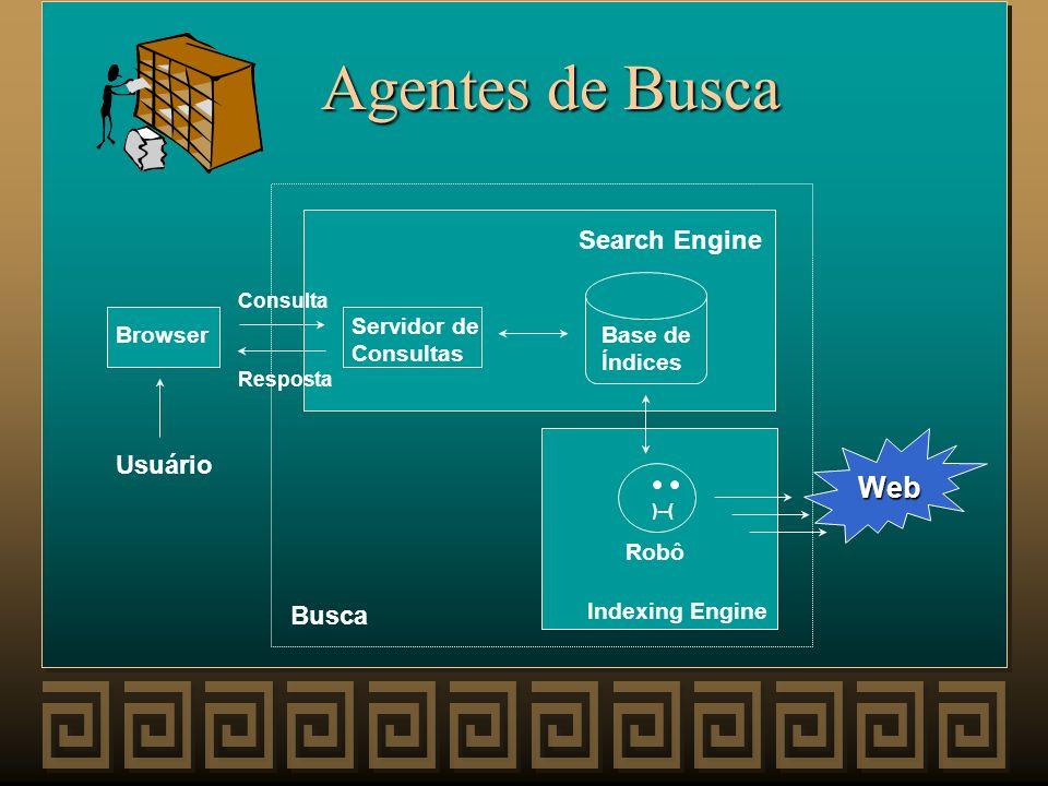 Agentes de Busca Web Search Engine Usuário Busca Servidor de Consultas