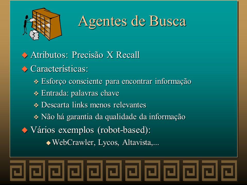 Agentes de Busca Atributos: Precisão X Recall Características: