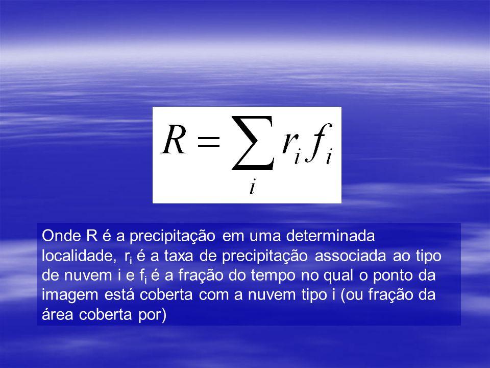 Onde R é a precipitação em uma determinada localidade, ri é a taxa de precipitação associada ao tipo de nuvem i e fi é a fração do tempo no qual o ponto da imagem está coberta com a nuvem tipo i (ou fração da área coberta por)