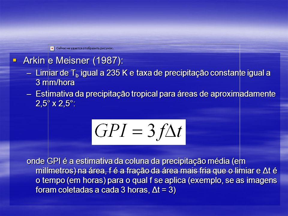 Arkin e Meisner (1987): Limiar de Tb igual a 235 K e taxa de precipitação constante igual a 3 mm/hora.