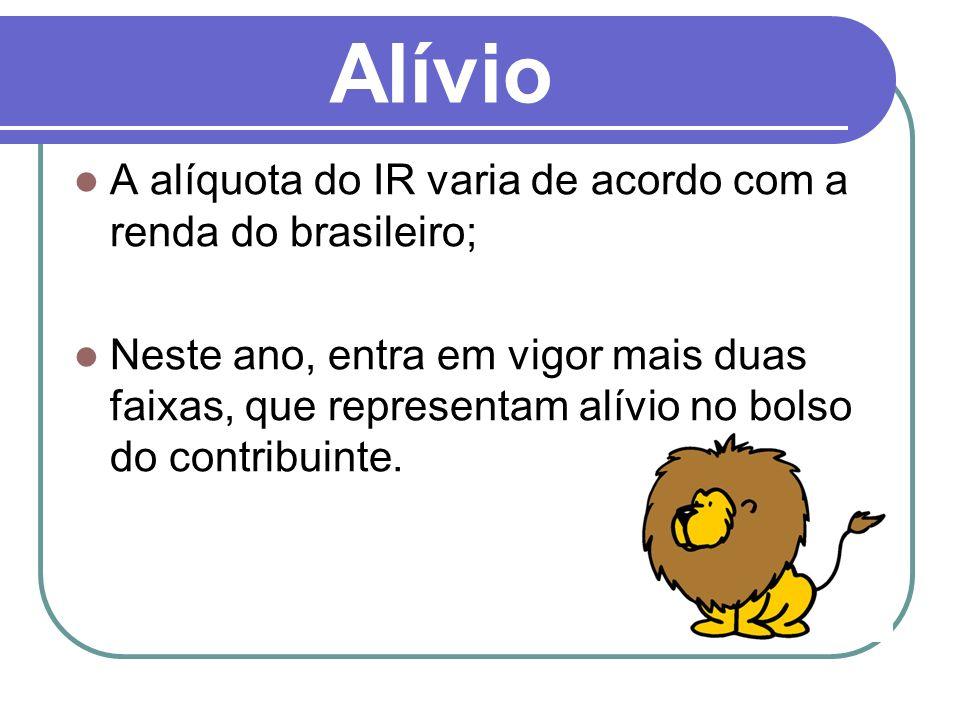 Alívio A alíquota do IR varia de acordo com a renda do brasileiro;