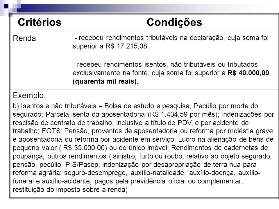Critérios Condições Renda Exemplo: