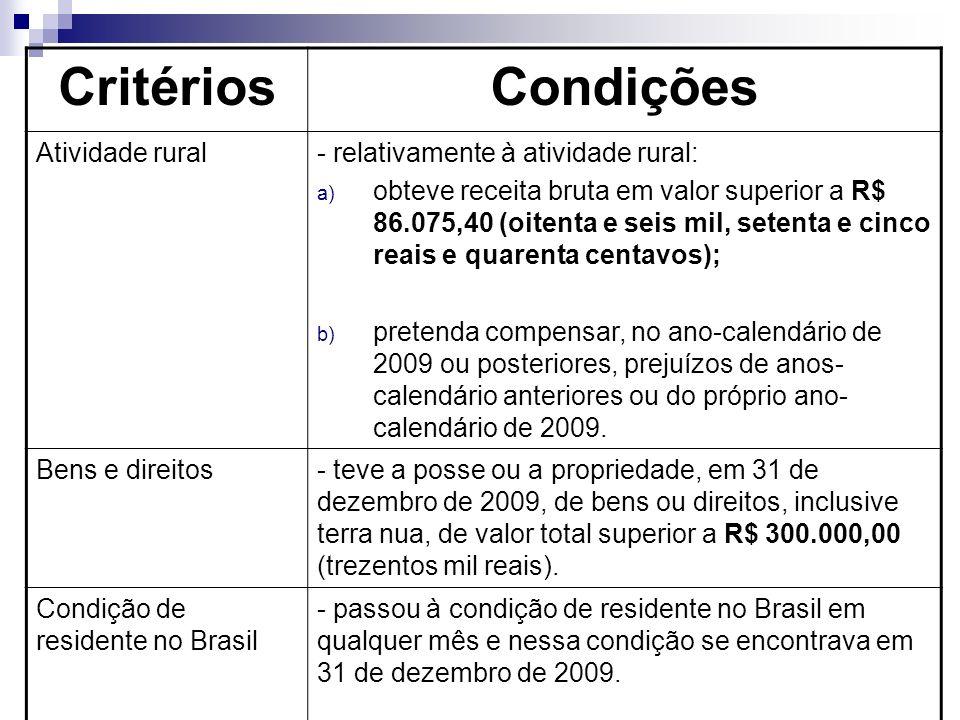 Critérios Condições Atividade rural - relativamente à atividade rural: