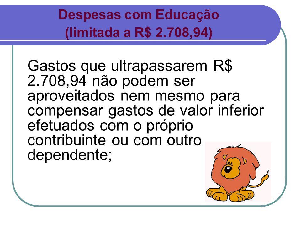 Despesas com Educação (limitada a R$ 2.708,94)