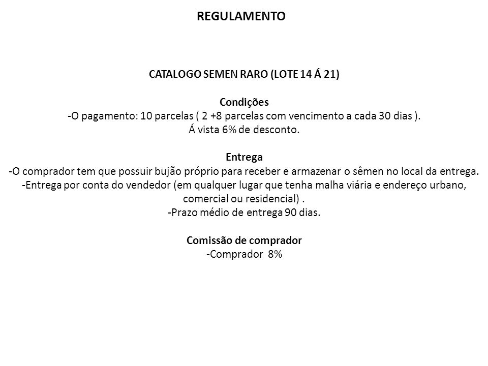 CATALOGO SEMEN RARO (LOTE 14 Á 21)