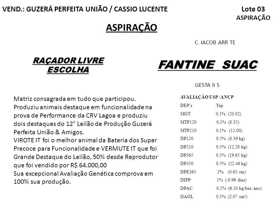 FANTINE SUAC ASPIRAÇÃO Lote 03 ASPIRAÇÃO