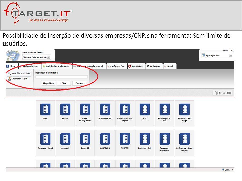 Possibilidade de inserção de diversas empresas/CNPJs na ferramenta: Sem limite de usuários.