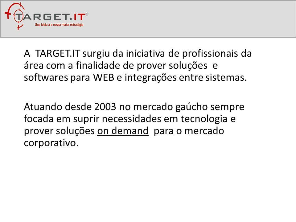A TARGET.IT surgiu da iniciativa de profissionais da área com a finalidade de prover soluções e softwares para WEB e integrações entre sistemas.