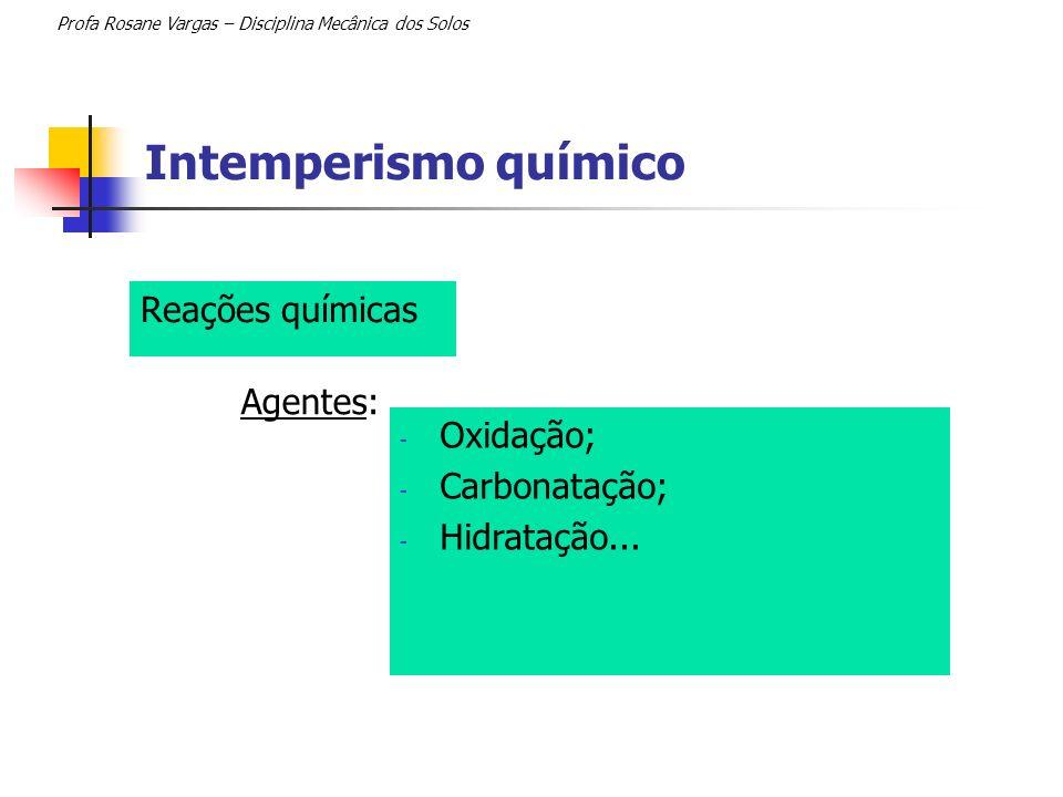 Intemperismo químico Reações químicas Agentes: Oxidação; Carbonatação;