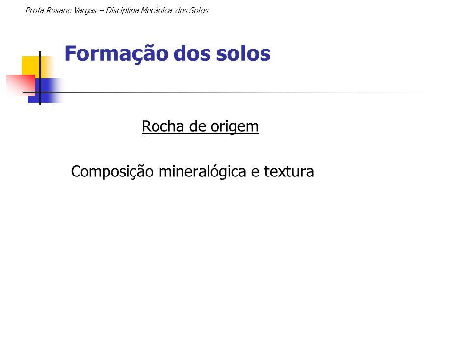 Formação dos solos Rocha de origem Composição mineralógica e textura