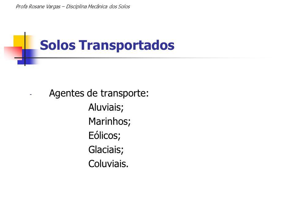 Solos Transportados Agentes de transporte: Aluviais; Marinhos;