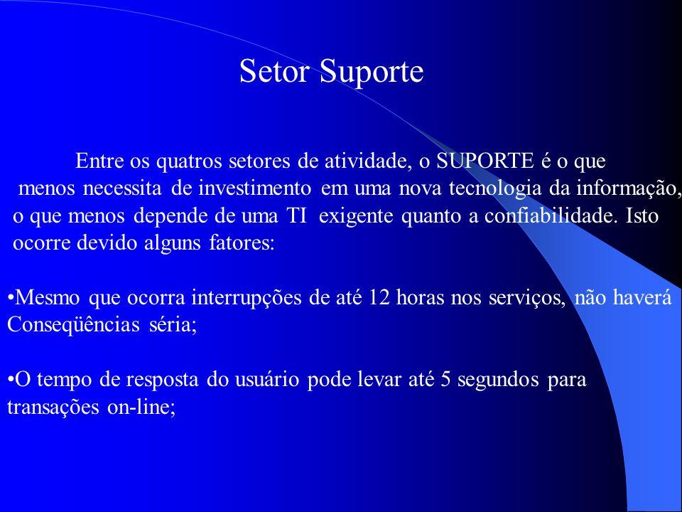 Setor Suporte Entre os quatros setores de atividade, o SUPORTE é o que