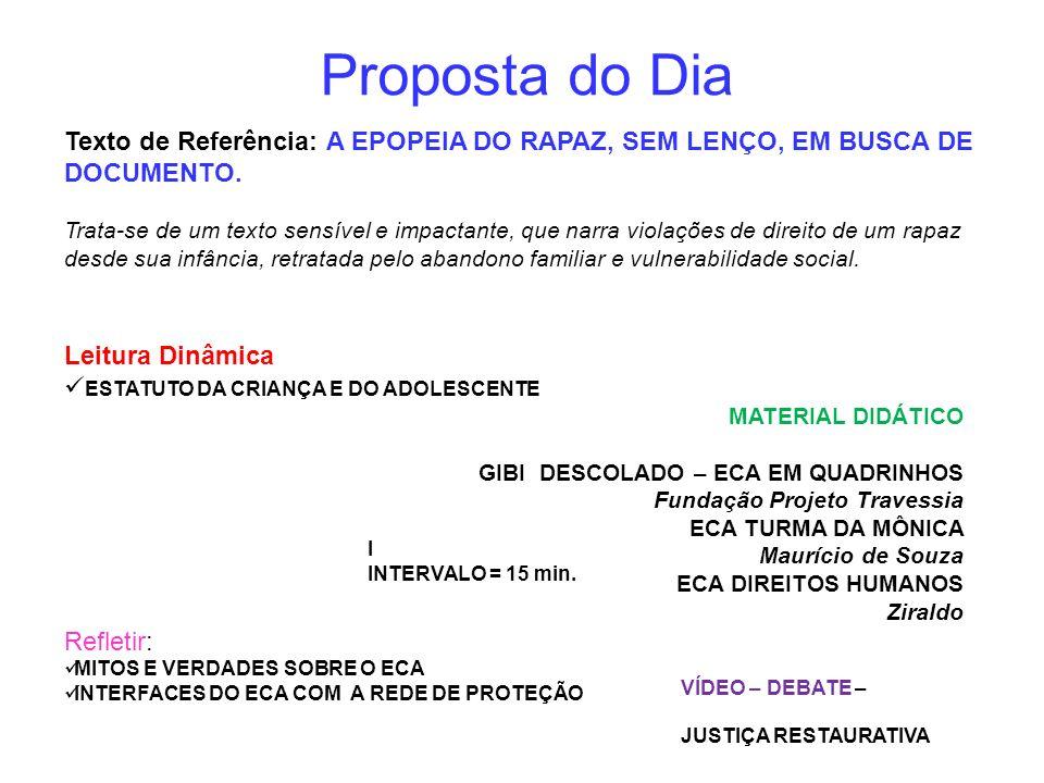 Proposta do Dia Texto de Referência: A EPOPEIA DO RAPAZ, SEM LENÇO, EM BUSCA DE DOCUMENTO.