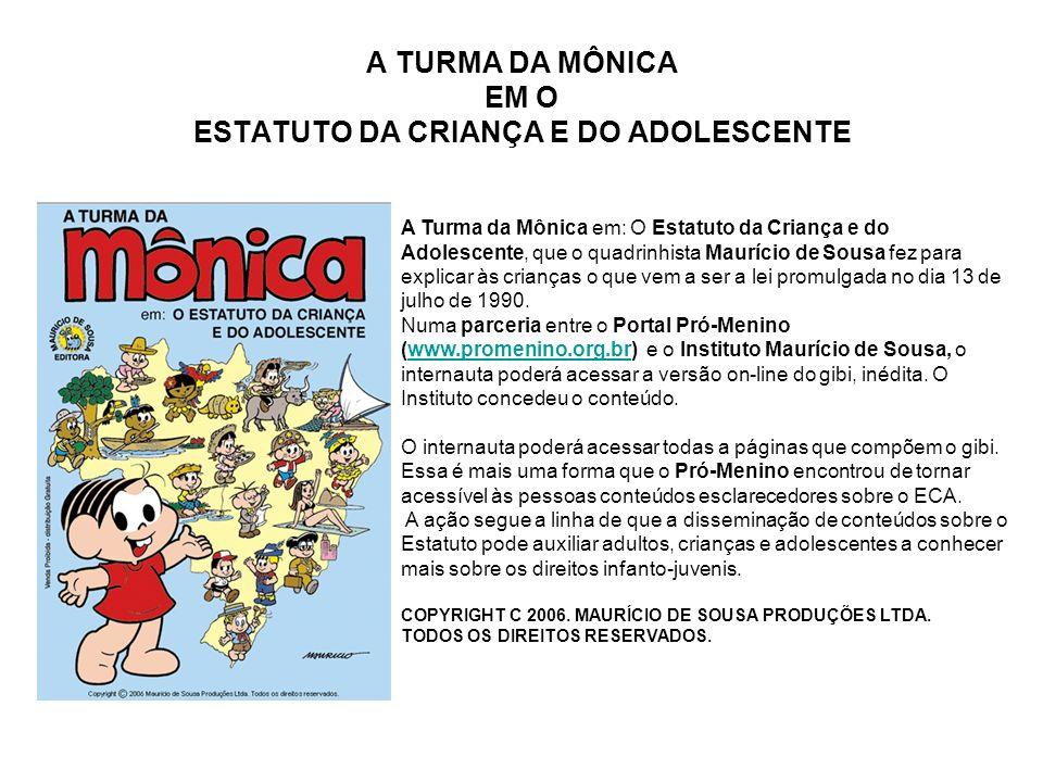 A TURMA DA MÔNICA EM O ESTATUTO DA CRIANÇA E DO ADOLESCENTE