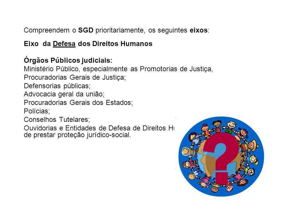 Compreendem o SGD prioritariamente, os seguintes eixos: Eixo da Defesa dos Direitos Humanos