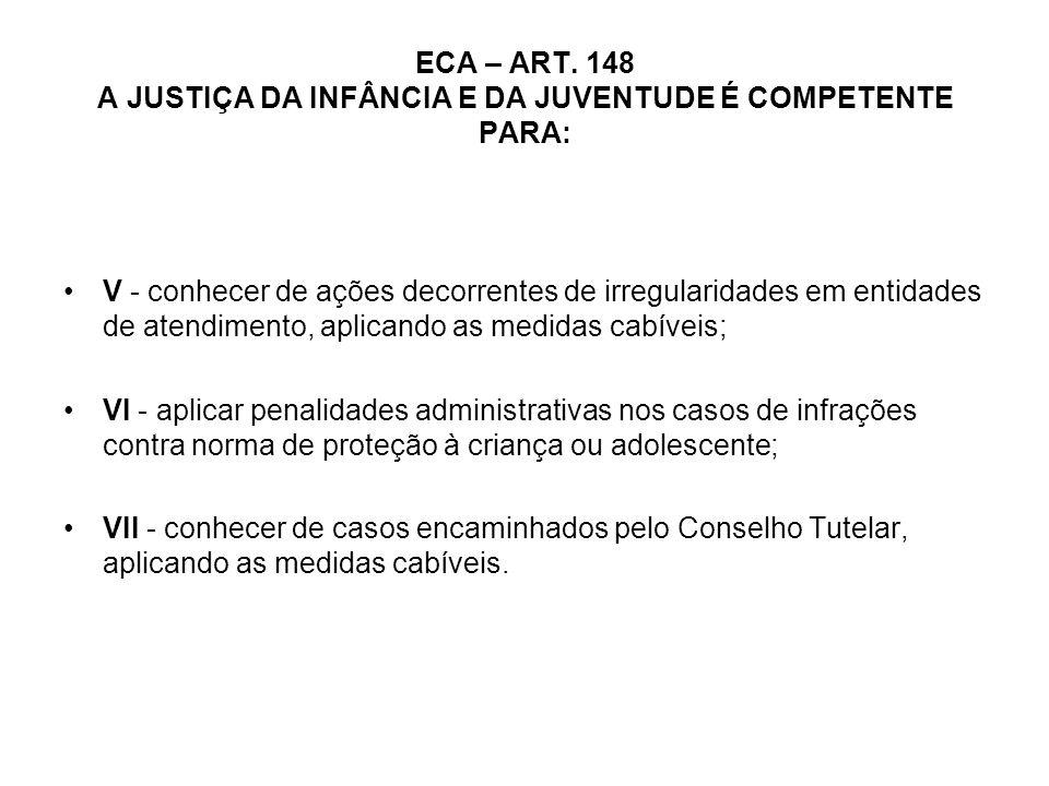 ECA – ART. 148 A JUSTIÇA DA INFÂNCIA E DA JUVENTUDE É COMPETENTE PARA: