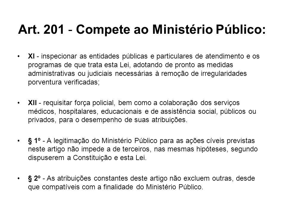 Art. 201 - Compete ao Ministério Público: