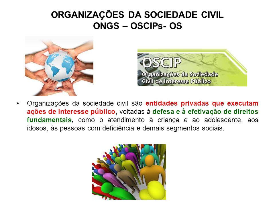 ORGANIZAÇÕES DA SOCIEDADE CIVIL ONGS – OSCIPs- OS