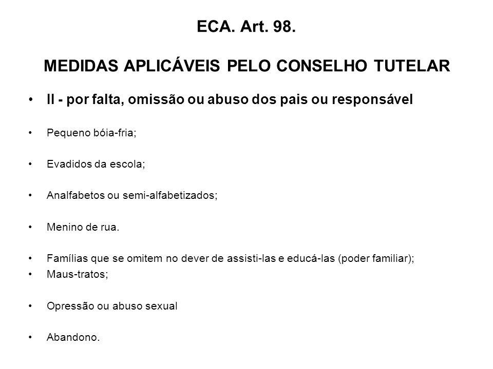ECA. Art. 98. MEDIDAS APLICÁVEIS PELO CONSELHO TUTELAR
