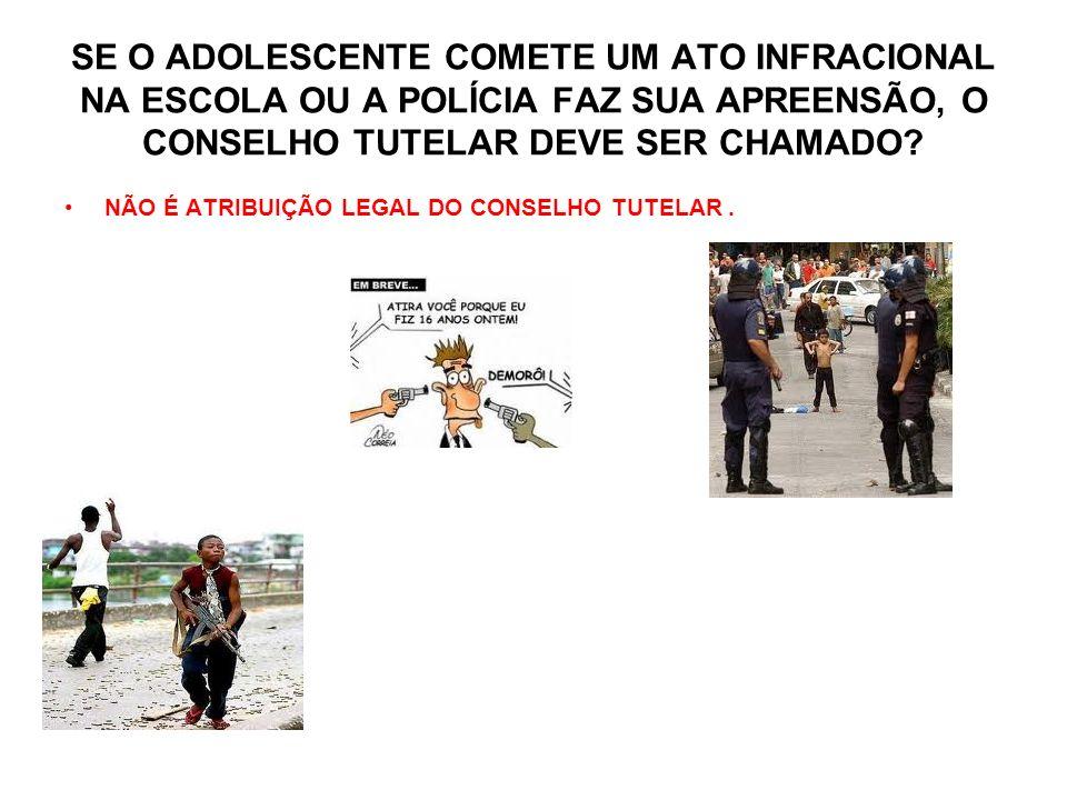 SE O ADOLESCENTE COMETE UM ATO INFRACIONAL NA ESCOLA OU A POLÍCIA FAZ SUA APREENSÃO, O CONSELHO TUTELAR DEVE SER CHAMADO