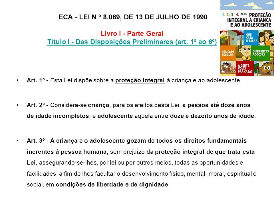 ECA - LEI N º 8.069, DE 13 DE JULHO DE 1990 Livro I - Parte Geral Título I - Das Disposições Preliminares (art. 1º ao 6º)