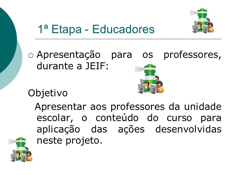 1ª Etapa - Educadores Apresentação para os professores, durante a JEIF: Objetivo.