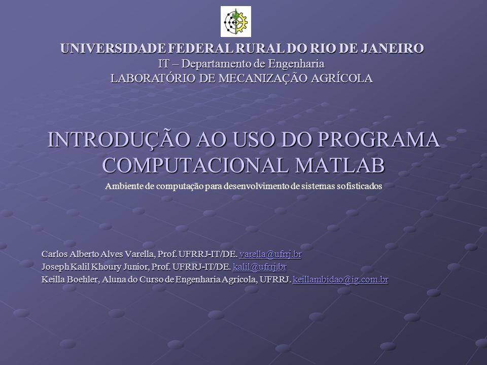 INTRODUÇÃO AO USO DO PROGRAMA COMPUTACIONAL MATLAB