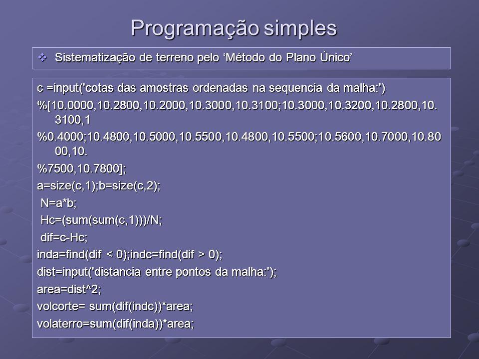 Programação simples Sistematização de terreno pelo 'Método do Plano Único' c =input( cotas das amostras ordenadas na sequencia da malha: )