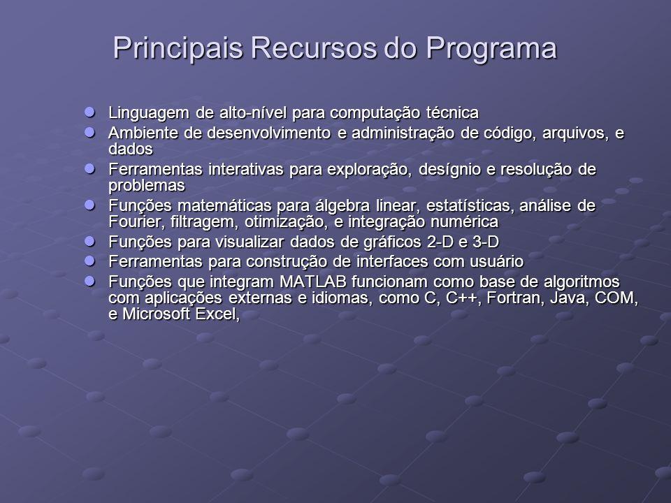 Principais Recursos do Programa