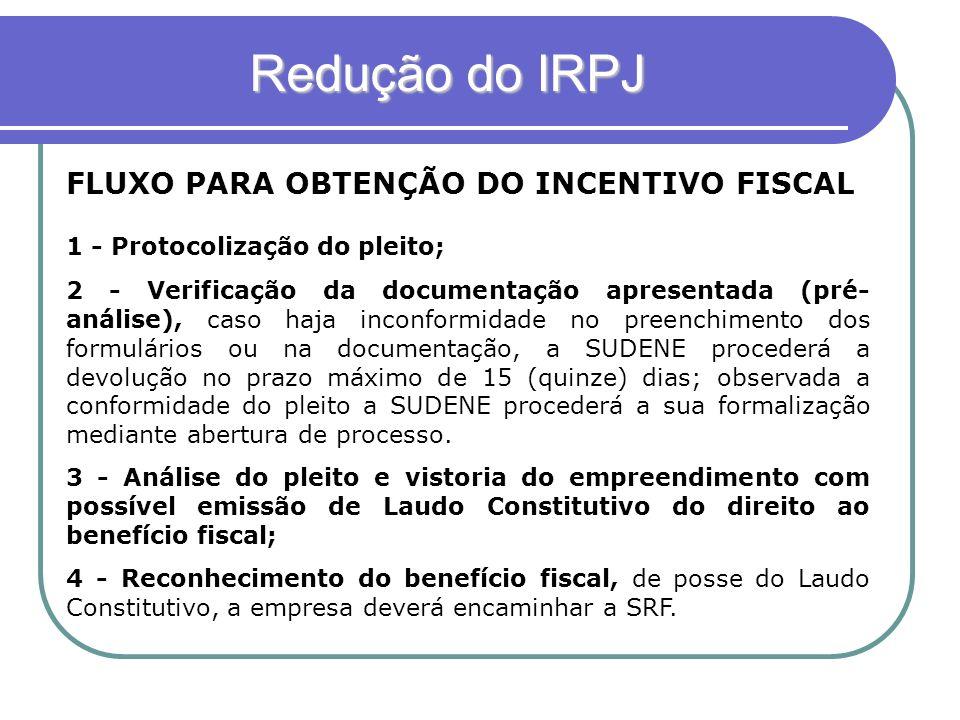 Redução do IRPJ FLUXO PARA OBTENÇÃO DO INCENTIVO FISCAL