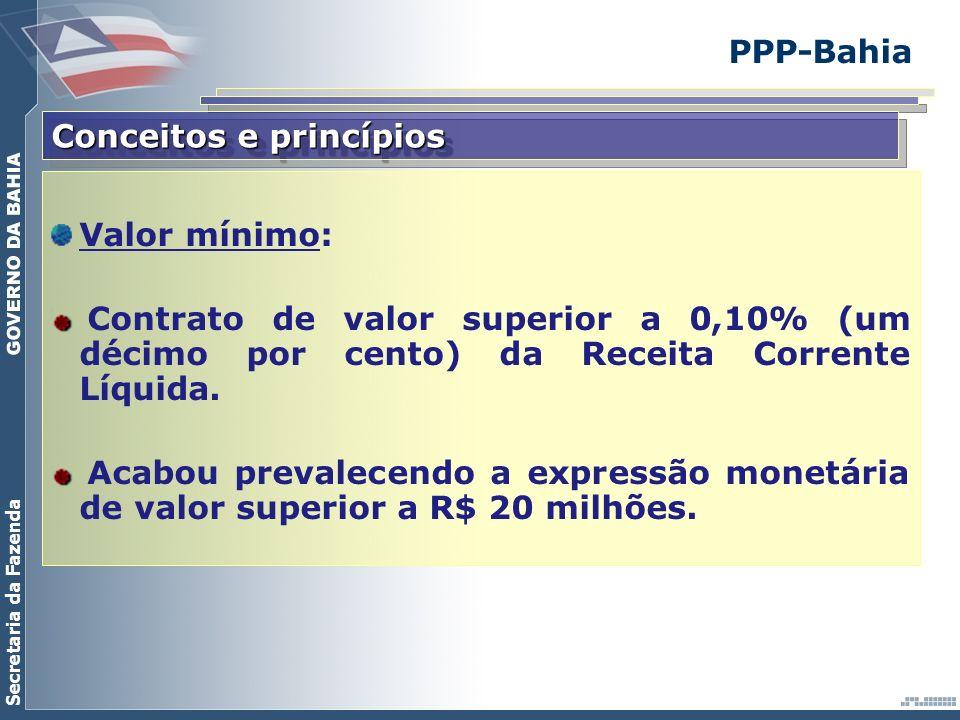 PPP-Bahia Conceitos e princípios. Valor mínimo: Contrato de valor superior a 0,10% (um décimo por cento) da Receita Corrente Líquida.