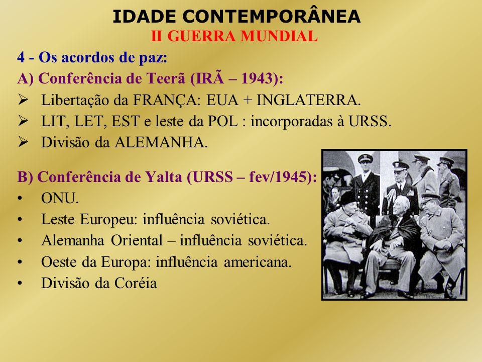 4 - Os acordos de paz: A) Conferência de Teerã (IRÃ – 1943): Libertação da FRANÇA: EUA + INGLATERRA.