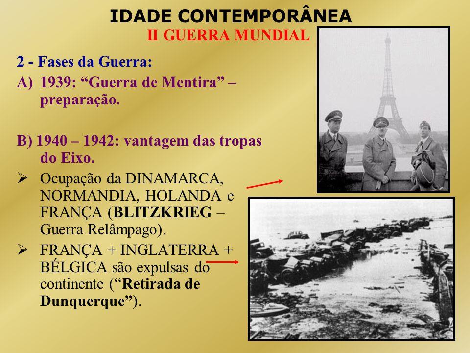 2 - Fases da Guerra: 1939: Guerra de Mentira – preparação. B) 1940 – 1942: vantagem das tropas do Eixo.