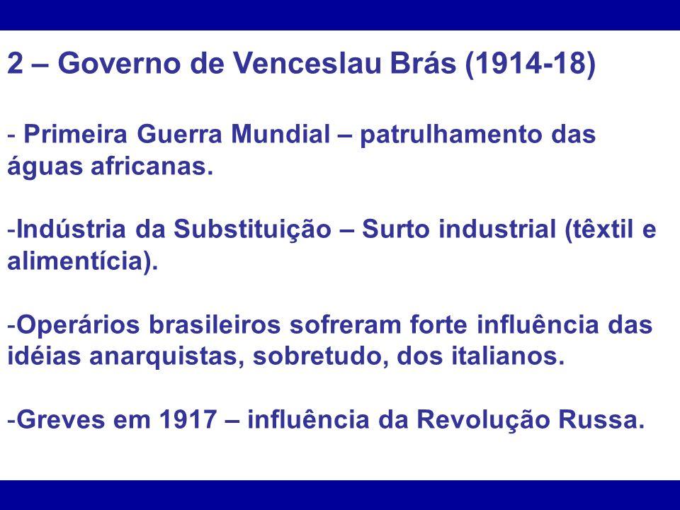 2 – Governo de Venceslau Brás (1914-18)