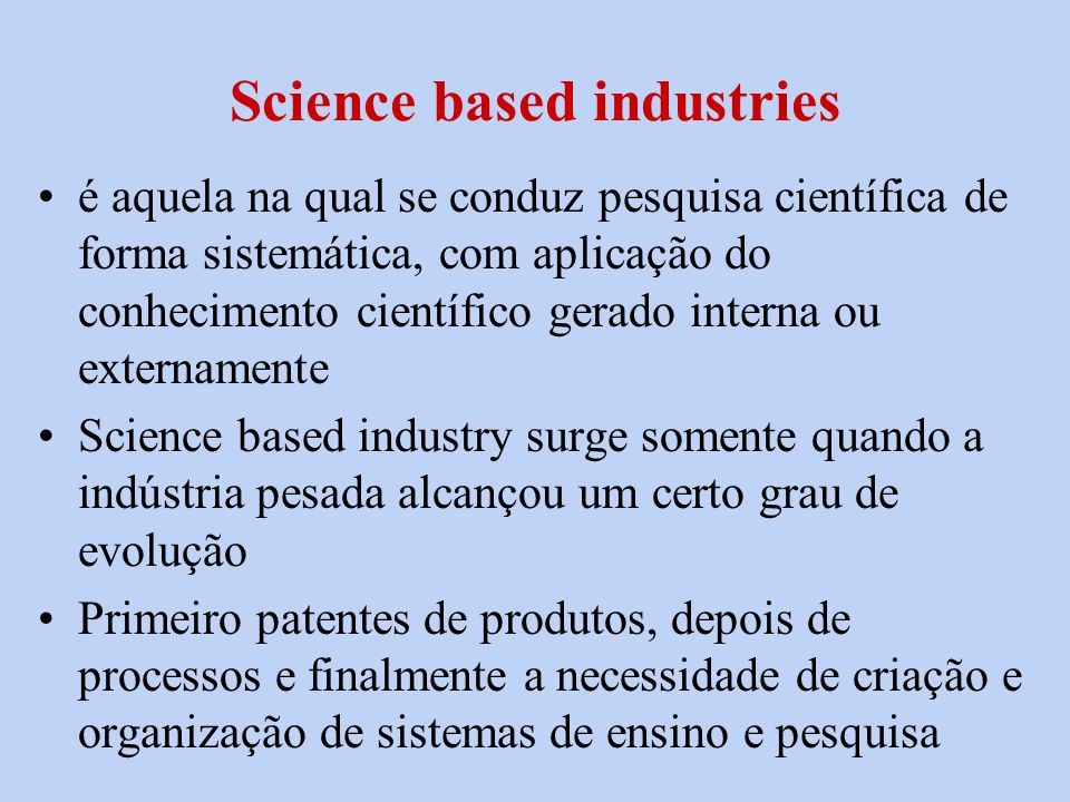 Science based industries