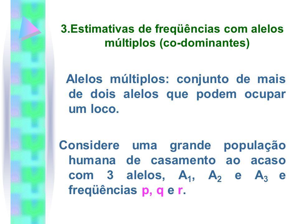 3.Estimativas de freqüências com alelos múltiplos (co-dominantes)